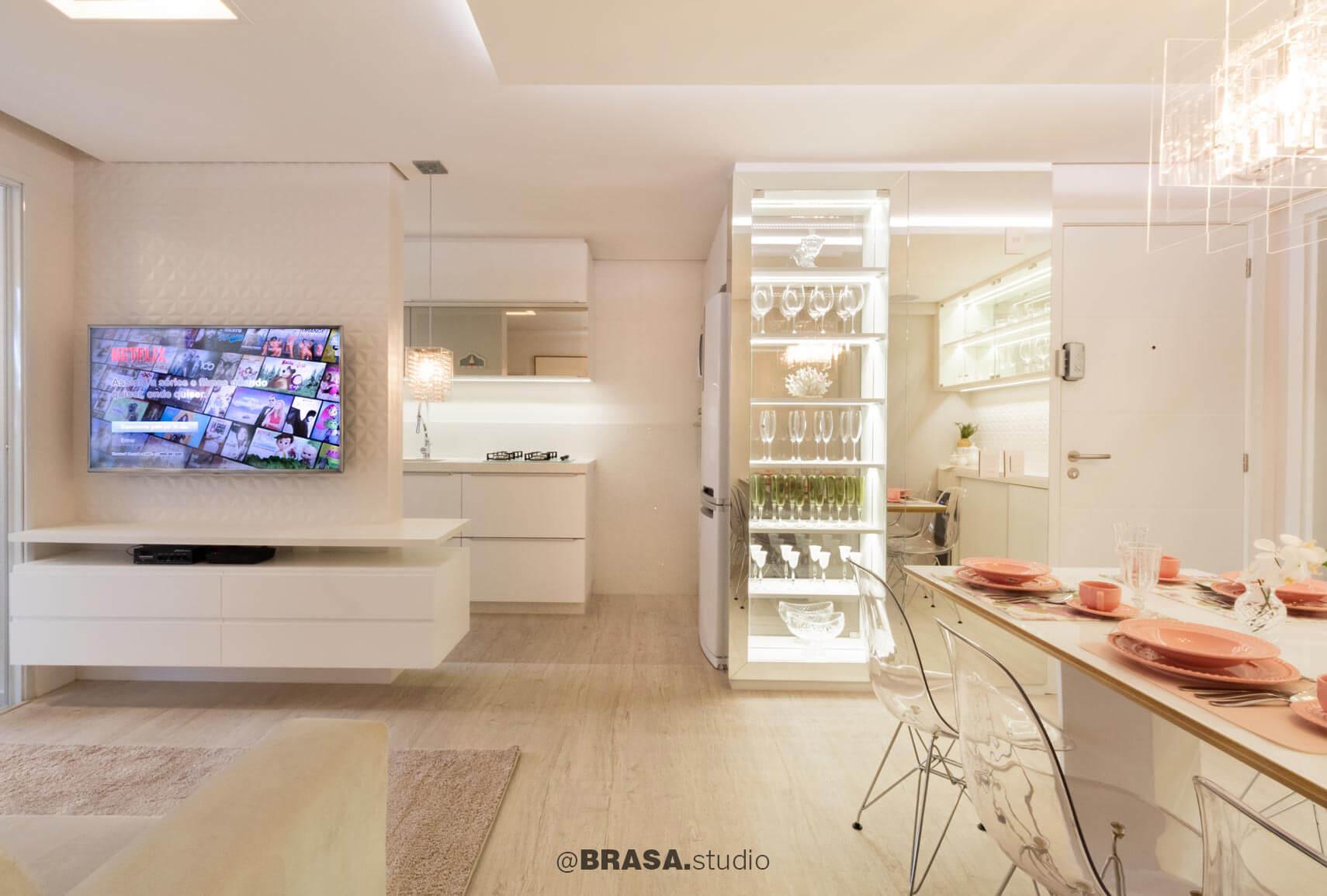 Projeto de interiores de apartamento, fotografia do living - BRASA studio