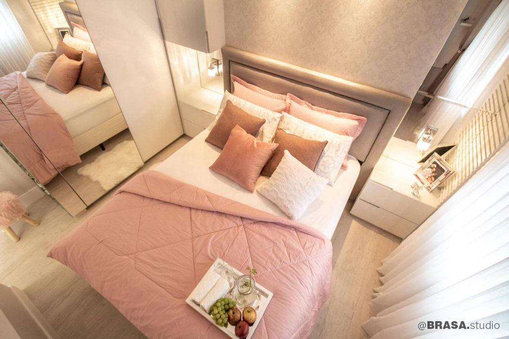 Projeto de interiores de apartamento, fotografia ampla do quarto de casal - BRASA studio