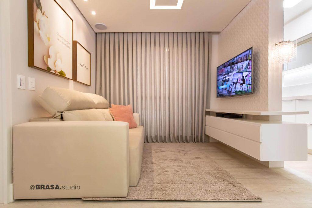 Projeto de interiores de apartamento, fotografia da sala de estar - BRASA studio